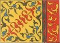 Орнаментальный мотив занавески выполнен техникой апликации и нашивки. Аул № 15, Баян-Ауль- ский район.